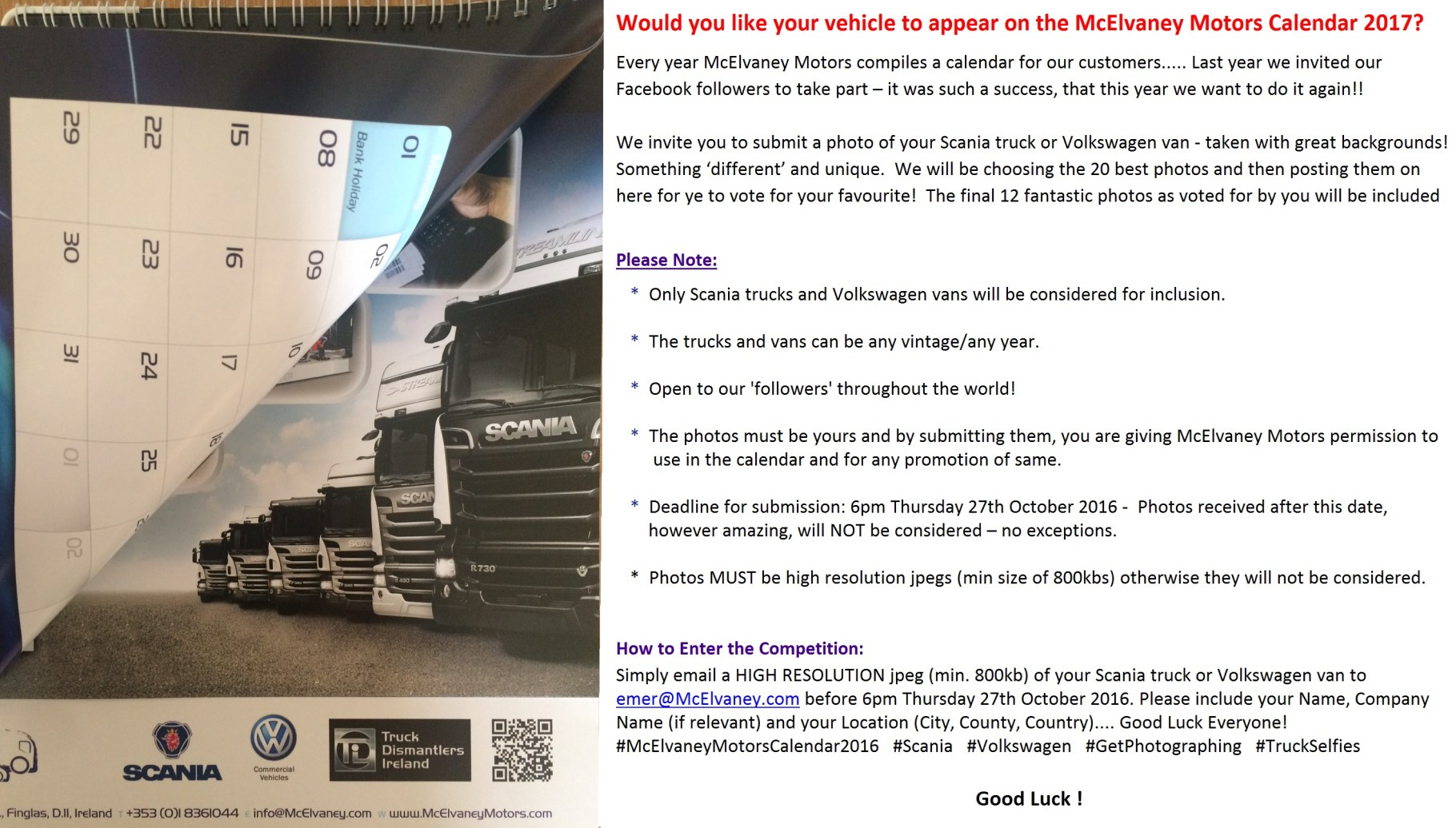 Would you like your Scania Truck or Volkswagen Van to appear on the McElvaney Motors Calendar 2017?